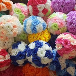 Wholesale 25cm Wedding Artificial Rose Silk Flower Ball Hanging Decoration Centerpiece wedding flowers rose balls