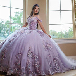 Lawenda Suknia Balowa Quinceanera Suknie z koronkowym Appliqiues z ramienia Sweet 16girls Vestidos DE 15 Años 2020