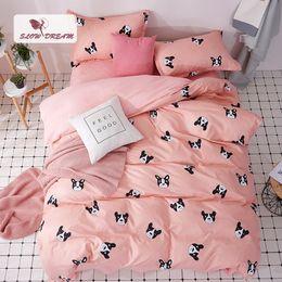 $enCountryForm.capitalKeyWord Australia - SlowDream Cartoon Dog Bedspread Pink Underwear Decor Bedding Set Duvet Cover Set Flat Sheet Pillowcases 3 4pcs Nordic Bedclothes