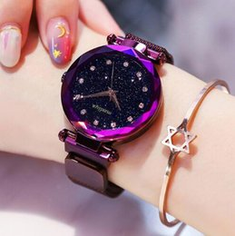 females watches 2019 - Luxury Diamond Rose Gold Women Watches Fashion Ladies Starry Sky Magnetic Watch Casual Mesh Steel Rhinestone Female Wris