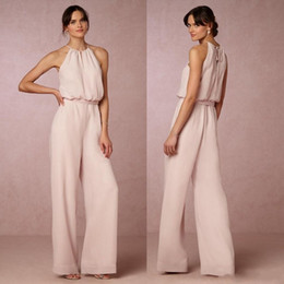 Wholesale pearl pants sexy resale online - 2019 Sexy Pearl Pink Chiffon Pant Suit Bridesmaid Dresses Long Cheap Halter Floor Length Maid Of Honor Plus Size Gowns