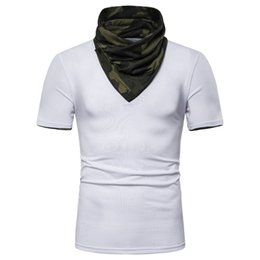 fake tees 2019 - Mens Camouflage Fake Two Pieces Tshirt Hooded High Collar Short Sleeve Mens Designer Tops Teenager Fashion Tees discount