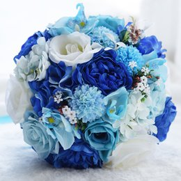 beach flower bouquet Australia - Romantic Blue And White Rose Bridal Bouquets Handmade Artificial Flowers Summer Beach Bridesmaid Bride Wedding Flowers New Style