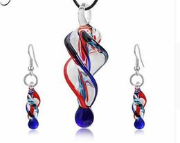 $enCountryForm.capitalKeyWord Australia - Personality Glass Spiral Jewelry Set Women Irregular Glass Shape Pendant Charm Necklace Dangle Drop Earrings Bijoux Gift
