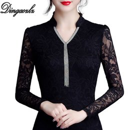 Wholesale black lace v neck blouse for sale – plus size Dingaozlz M XL Elegant V neck Collar Women Lace shirt New fashion long sleeve Tassel Black Tops Plus size Hollow out blouse