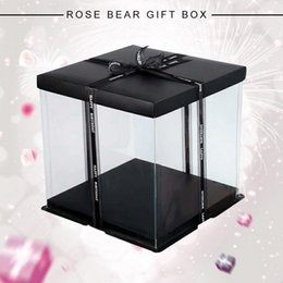 Rose Pvc Box Australia - Wrapping Gift Case PVC Rose Portable Gift Box DIY Beautiful Foldable Flower Box Drop Shipping