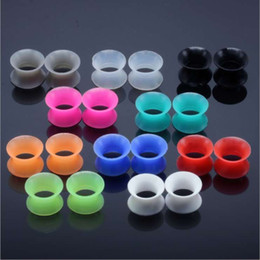 20 ps per lot mix color Silicone Ear Tunnels man womans Ear Gauge Fashion Punk Jewelry Tunnels Plugs Top Quality Ear Stretcher wholesale on Sale