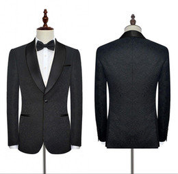 cotton embroidery suits images Australia - New Black Wedding Tuxedos Suits Formal For Weddings Business Work Men Suits High Quality Made Customized Blazer Suits With Embroidery SU0021