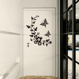 $enCountryForm.capitalKeyWord Australia - Butterfly Flower Vine Toilet Wall Stickers For Bathroom Refrigerator Kicthen Decoration Wall Decal Home Decor PVC Door Art Mural
