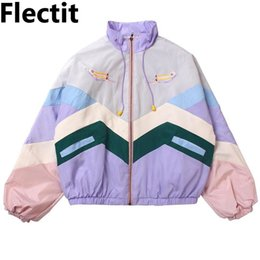 Wholesale cute bomber jackets resale online – Women Pastel Bomber Jacket Cute Embroidery Color Block Duster Souvenir Sukajan Jacket Japanese Girls Harajuku Style T200301