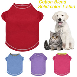 Wholesale Spring Summer Clothes Australia - Dog Shirt Cotton Blend Pet Clothes For Small Dogs Cat Spring Summer Puppy Cat Solid Costume Pet T-shirts Blouses Pets XXS~M X21