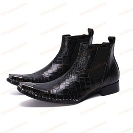 World dresses online shopping - Luxury Fashion Men Ankle Boots Men Black Genuine Leather Dress Boots Shoes Business Party World Shoes