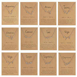 Libra neckLaces online shopping - 12 Constellation Zodiac Necklace Horoscope Sign Zircon Korean Jewelry Star Galaxy Libra Astrology Women Necklace Gift with Retail Card