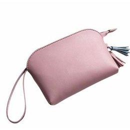 $enCountryForm.capitalKeyWord Australia - PU Leather Portable Solid Card Holder Wrist Strap Gift Zipper Casual Travel Tassel Pendant Short Women Purse Mini Handbag