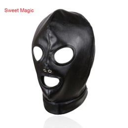 Bondage Halloween Costumes Australia - PU Leather Bondage Hood Mask Open Eyes and Open Mouth Adult Games Cosplay Slave Restraints Head Harness Sexy Costumes Erotic Toys
