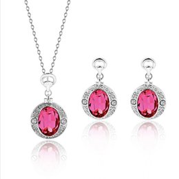 $enCountryForm.capitalKeyWord Australia - Elegant and exquisite Rose necklace earrings jewelry sets for women best gift 12sets min order free shipping 61152273
