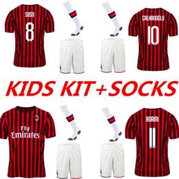 milan kids soccer jersey 2019 - 19 20 AC milan soccer jersey suso football shirts PIATEK BAKAYOKO BORINI KESSIE KIDS kits + SOCKS CUTRONE Camisa CALHANO
