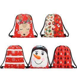 Santa Claus Prints Australia - 5pcs A Set Christmas Backpack Gift Bags Backpacks Santa Claus Pocket 3d Digital Print Back Pack Bag For Children Boy Women Girls