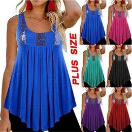 Wholesale big hem t shirt for sale – custom Women s Ladies Summer Casual Loose Fitting Solid Colour Round Neck Sleeveless Sequins Ruffle Hem Big Swing Vest T Shirt