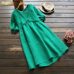 ladies cotton sundresses NZ - Summer Dress Women Puff Sleeve Pleated Vestido 2019 Female Party Long Elegant Oversized Top Lady Cotton Sundress