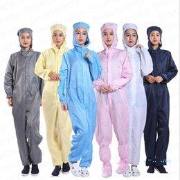 Uma peça vestuário de protecção reutilizável vestuário anti-estático Unisex vestuário de protecção oficina livre de poeira com capuz limpar a roupa de 7 cores E32410 em Promoção