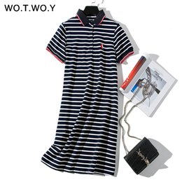 plus size cat dress NZ - Wotwoy 2019 Striped Cat Embroidery Dresses Women Summer Long Turn-down Collar Casual Knee-length Dress Woman Plus Size Clothes Y190514