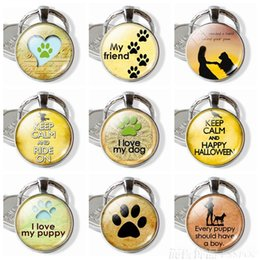 dog flashlight Australia - Dog Paw Pendant Round Glass Dome Pendant Key Chain Dog Lover's Gifts Cute Bag Pendant Women Fashion Jewelry Keyfob