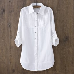 $enCountryForm.capitalKeyWord Australia - Cotton 100% 2019 Spring Summer Women White Blouse Long-sleeved Slim Cotton Casual Work White Shirts Office Lady Button Tops 0.22