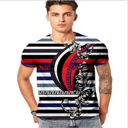 Wholesale New Trend Men T shirts Cotton Short Sleeved Slim Fit Funny T shirts D Medusa Floral Print Fashion Casual T shirt Men Tees Tops