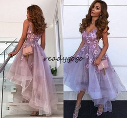 robe cocktail crystals sexy NZ - Lavender Sexy V-Neck Handmade Flowers High Low Evening Dress Spaghetti Straps Formal prom cocktail Party Dresses robe de soiree