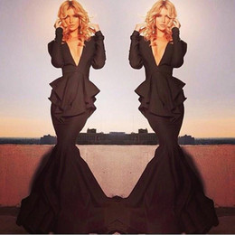 long sleeve maxi dresses Australia - 2019 Black New Sexy Long Sleeves Mermaid Evening Gowns Deep V Neck Peplum Prom Dresses Formal Dresses Celebrity Red Carpet Maxi Dress