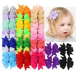 $enCountryForm.capitalKeyWord Australia - Colors Solid Grosgrain Ribbon Bows Clips Hairpin Girl's hair bows Boutique Hair Clip Headware Kids Hair Accessories Wholesale