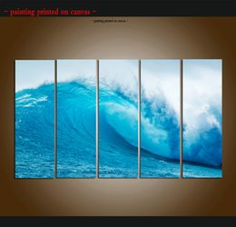 $enCountryForm.capitalKeyWord Australia - Large 5 Panel Modern Beach Canvas Print Surf Ocean Wave Seascape Painting Art Wall Home Decor Picture Contemporary For Living Room ASet043