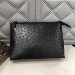 $enCountryForm.capitalKeyWord Australia - Authentic Ostrich Skin Zipper Closure Businessmen Black Clutch Purse Exotic Genuine Leather Wristlets Bag Male Large Card Case