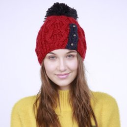 wholesale hand knitted beanies Australia - Hot sale! Autumn and winter new fashion hand-woven beanie three small buttons wool ball knitting wool warm female hats wholesales