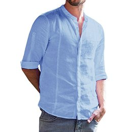 a83989b387 YOUYEDIAN Primavera Moda sudaderas hombres Roll-up Botón de manga larga  Sólidas sudaderas Cuello Banded Fit Top Shirt moletom mascul