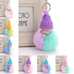 Football dolls online shopping - Free DHL Cute Sleeping Baby Doll Keychains Pompom Fluffy Keychain Faux Rabbit Fur Knitted Hat Keyrings Women Car Key Ring Styles H577Q F