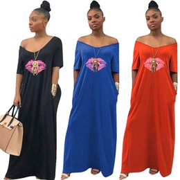 $enCountryForm.capitalKeyWord NZ - Women Maxi Dress Summer V Neck Lip Print Lady Casual Long Dresses Fashion Short Sleeve Off Shoulder Beach African Sundress PLus Size C43007