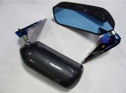 Adesivo de água estilo F1 Espelho de Metal Espelho Lateral do Suporte de Metal Esquerda Direita 2 Pcs Com Espelho Azul em Promoção