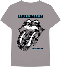 """Silver Rolled Chain Australia - The Rolling Stones-Steel Wheels Logo Tongue-X-Large Charcoal Gray T-shirtALICE IN CHAINS """"TRI CELL"""" BLACK T-SHIRT NEW Men Women Unisex"""