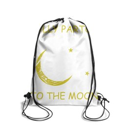 Love Furs Australia - Drawstring Sports Backpack I Love My Dolly Parton To The Moon fashion convenient school Pull String Backpack