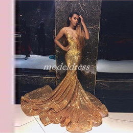 2017 formal dresses Gold Sparkly Mermaid Evening Dresses Spaghetti Sweep Train Sequined Sexy Formal Prom Party Gowns vestidos de fiesta Special Occasion Dress