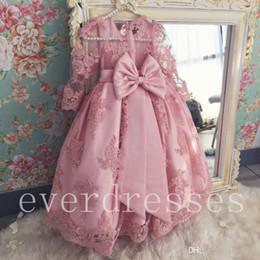 Dress For Babies First Birthday Australia - Light Pink Little Baby Flower Girl's Dresses Princess Corset Back First Communion Dresses for Weddings Cheap Vestidos Kids Formal Wear