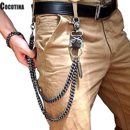 $enCountryForm.capitalKeyWord NZ - Mens Hip Top Punk Rock Pants Trousers Jeans Waist Wallet Skull Metal Chains Men's Two Strands Biker Link Key ChainSH190721