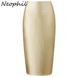 $enCountryForm.capitalKeyWord NZ - Neophil 2019 Ladies Sexy Pink Faux Leather Midi Pencil Skirts High Waist Winter Elastic Bodycon Slim Office Short Saias S0323 MX190730