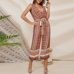 $enCountryForm.capitalKeyWord NZ - V-neck Backless Jumpsuits Chiffon Bohemian Women Summer Rompers Long Wide Leg Ladies Elegant Beach Sashes Overalls Jumpsuit