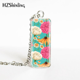 $enCountryForm.capitalKeyWord Australia - New Arrival Vintage Patterns Flowers Square Pendants Jewelry Glass Cabochon Poppies Flowers Paintings Stainless Steel Necklace