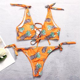ea5907e4f11 Sexy Smallest Bikini NZ - Number Printing Front Bind Rope Bow Pineapple  Bandage Sexy Small Fresh