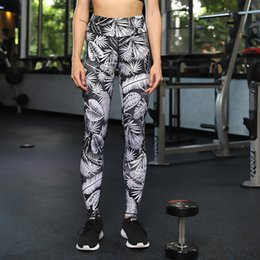 $enCountryForm.capitalKeyWord Australia - Leaf Printing Gauze Split Joint Yoga Pants Motion Hit Underpant Close Bodybuilding Pants Yoga Serve Woman