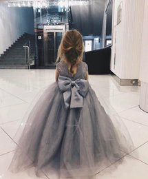 Big Girls Pageant Dresses NZ - New Grey Lace Ball Gown Flower Girl Dresses Appliques Girls Pageant Gowns Communion Dress Big Bow Back Custom Made Puffy Tulle